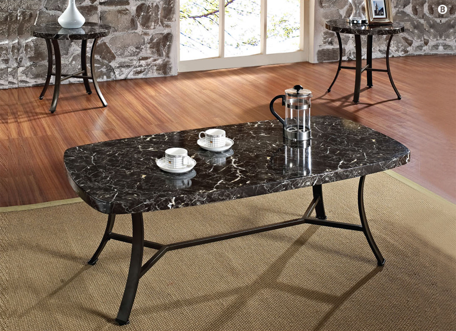 3 Pc Daisy Black Faux Marble Contemporary Coffee Table Set Ebay