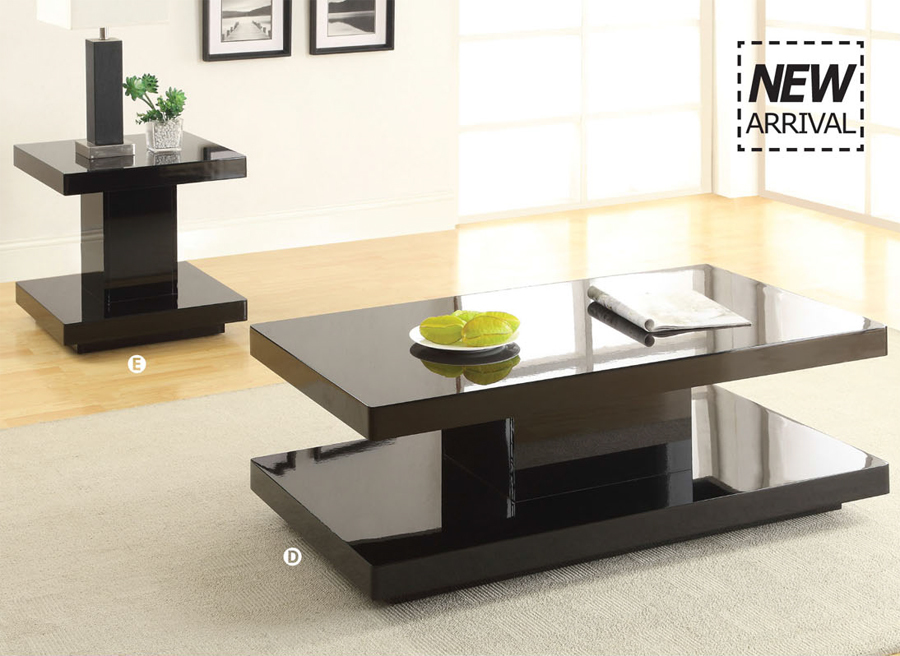 3 Pc Koren Black Contemporary Cocktail Coffee Table Set