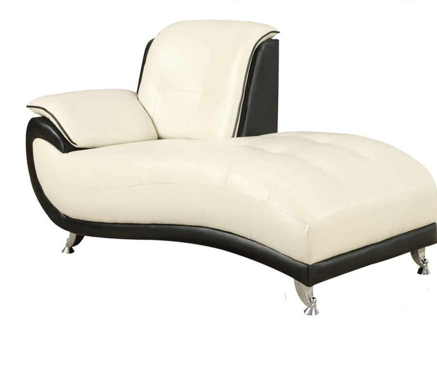 Olivette black white bonded leather modern chaise lounge for Bonded leather chaise