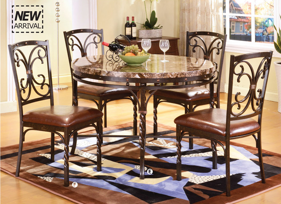 About 5 Pc Burril Faux Marble Metal Traditional Dining Table Set