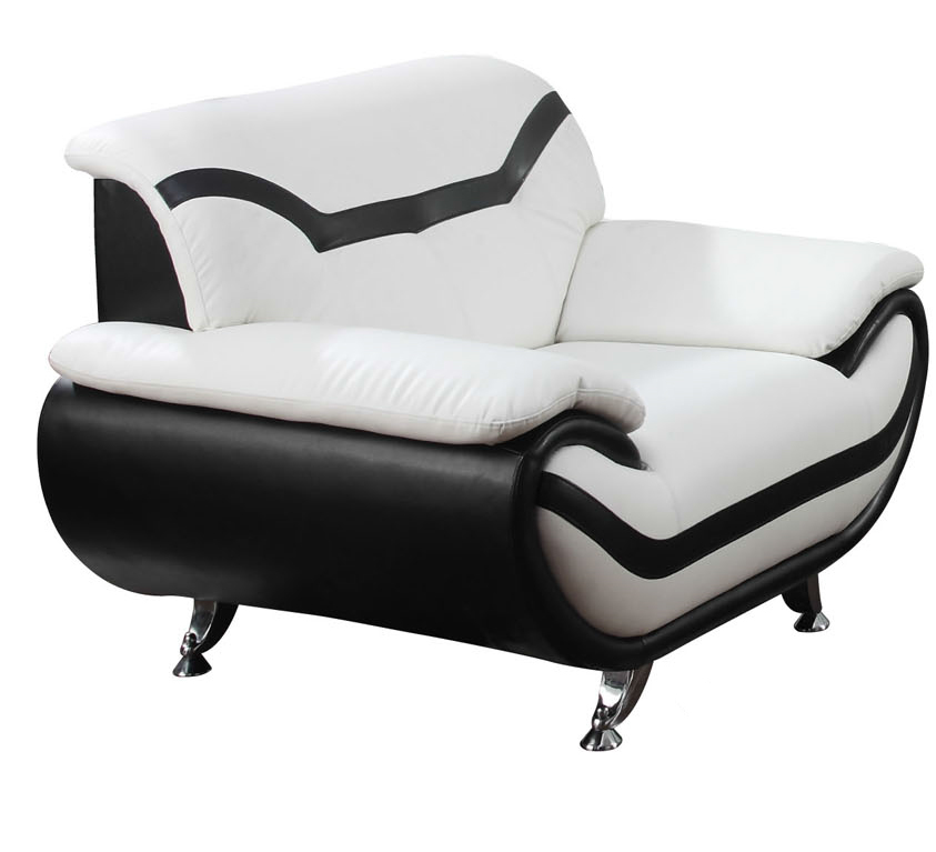 About rozene white black bonded leather modern accent arm chair
