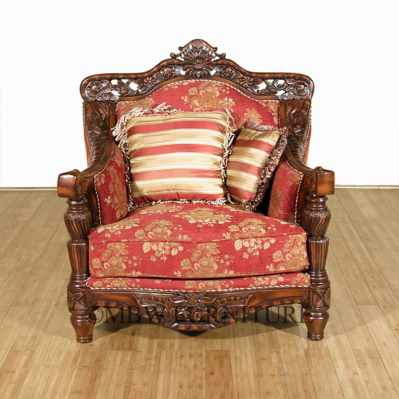 Victorian Shaped Pillows : Dark Cherry Victorian Upholstered Arm Chair w/Pillows