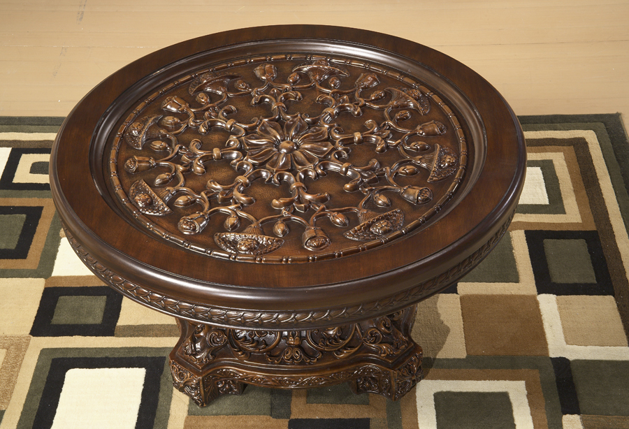 Walnut Glass Traditional Round Floral Coffee Table Ebay