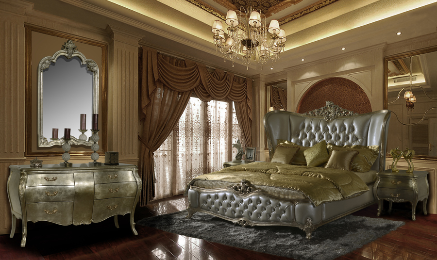 Antiqued Metallic/Tufted Pewter 5-pc Traditional Eastern King ...
