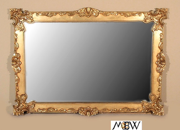 6ft wide solid mahogany gold baroque framed mirror for Wide framed mirror
