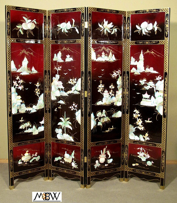 Store Categories - Antique Japanese Red & Black Mother Of Pearl Shoji Folding Screen