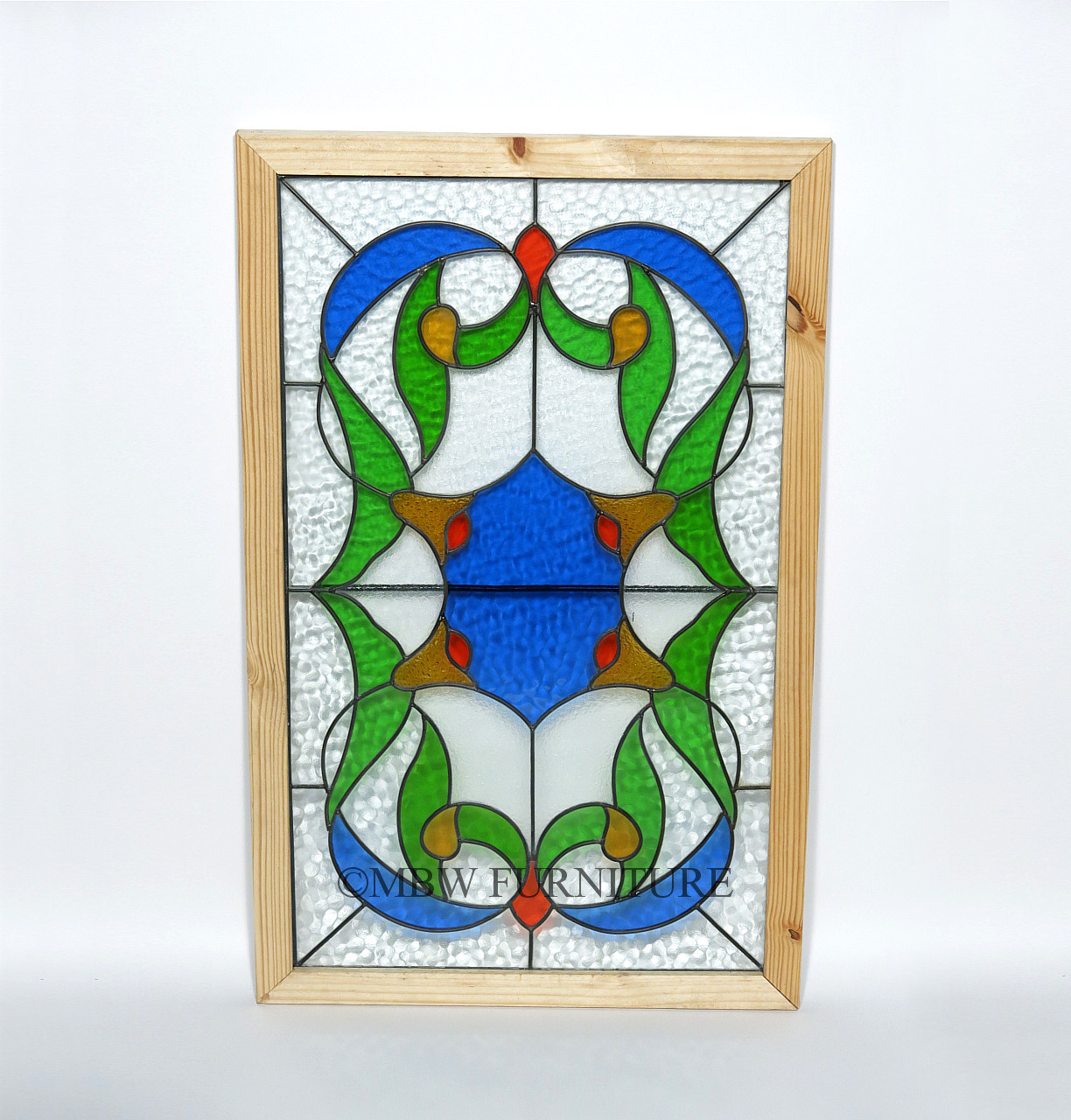 32in x 19in floral leaded stained window glass frame panel