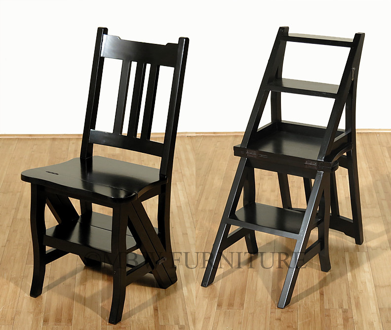 Solid Mahogany Black Convertible Ladder Chair Library Step