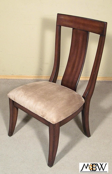 Chocolate mahogany art deco splat back taupe occasional side chair ebay for Deco badkamer taupe