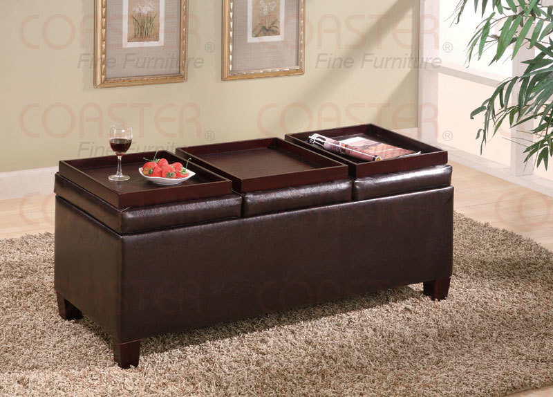 Details About Brown Faux Leather Storage Ottoman Cocktail Table