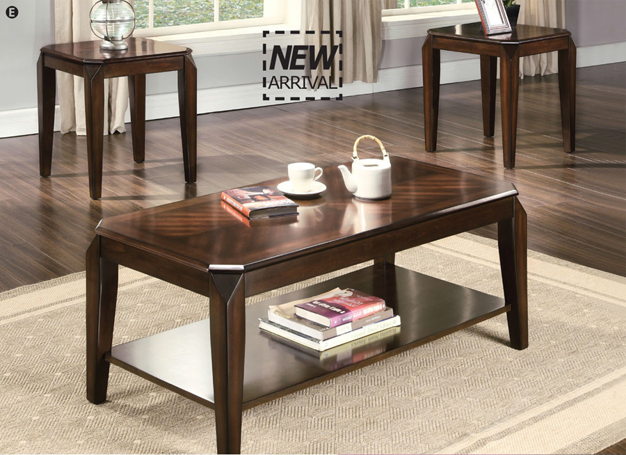 3 Pc Docila Walnut Contemporary Coffee Table Set Ebay