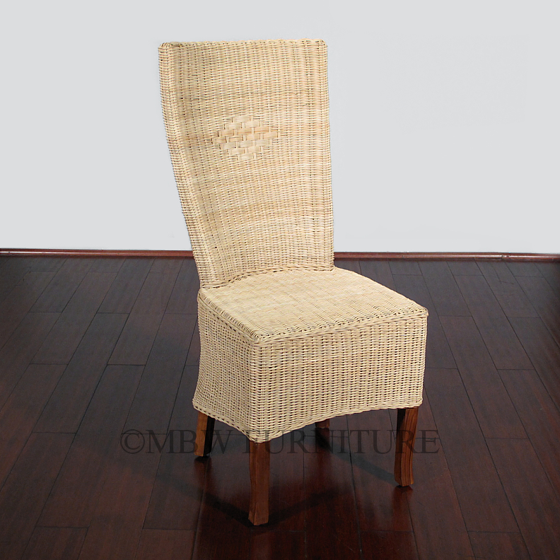 Solid mahogany wicker high back occasional parson side for High back parsons chair