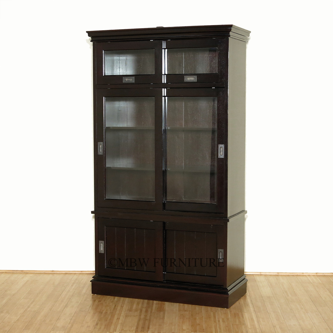 Solid Mahogany Espresso Bookcase Display Cabinet