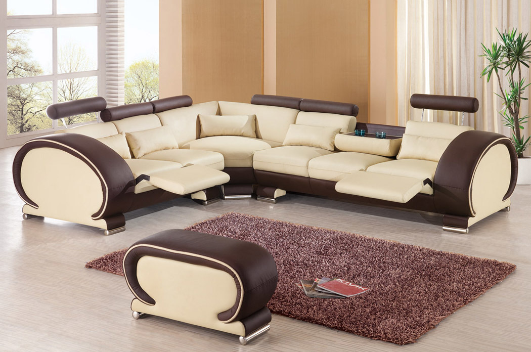 Beige brown italian leather sectional sofa and ottoman ebay for Large living room sofas