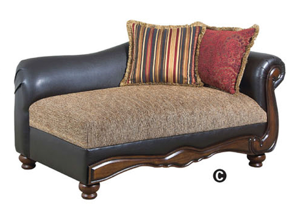 Olyssues faux leather brown fabric traditional chaise lounge for Aico trevi leather armless chaise in brown
