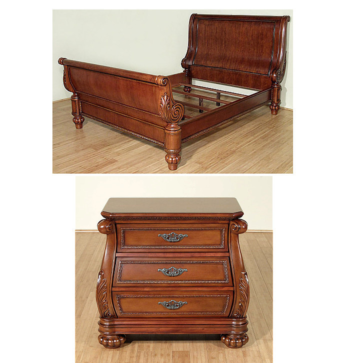 Details about 2 Pc Mahogany Queen Sleigh Bed Bedroom Set w/ Nightstand