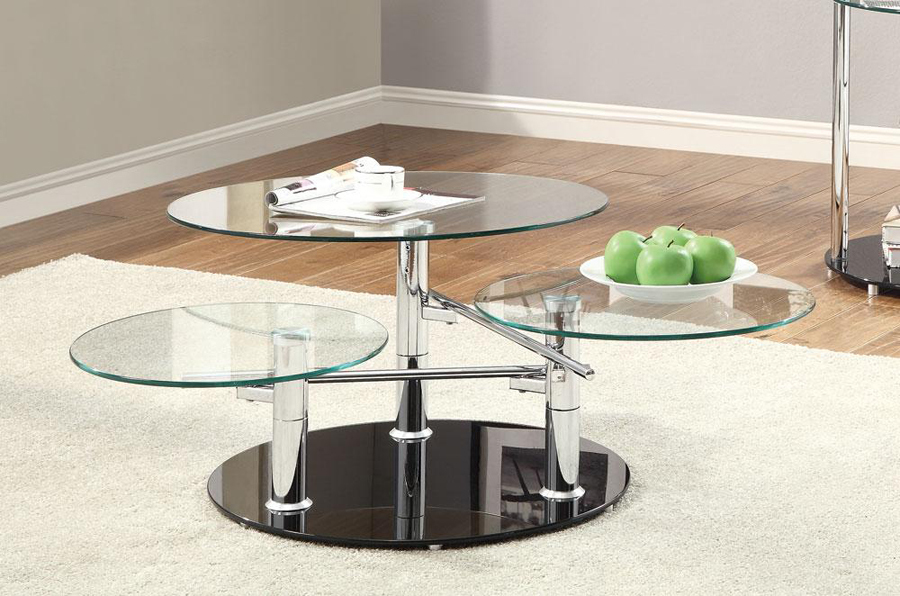Tempered Glass Chrome Swing Arm Contemporary Coffee Table Ebay
