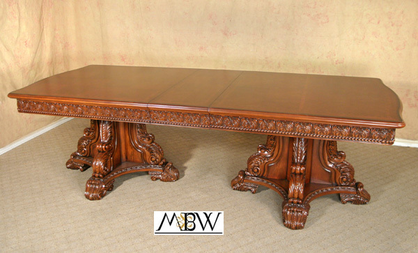 9ft mahogany double pedestal dining room table ebay for 9 foot dining room table