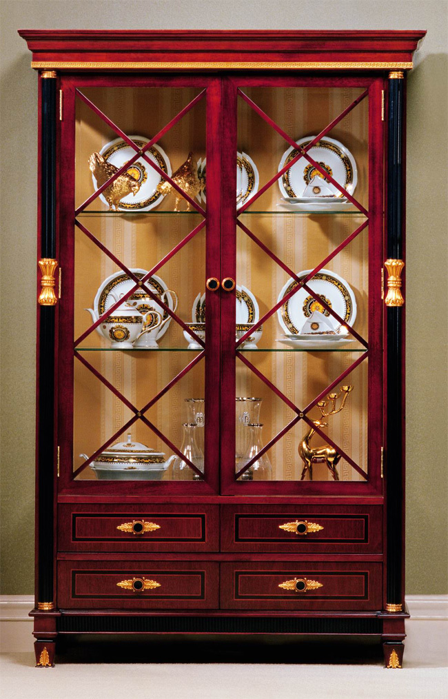 Rosewood baroque 2 door curio china cabinet ebay for Baroque glass door