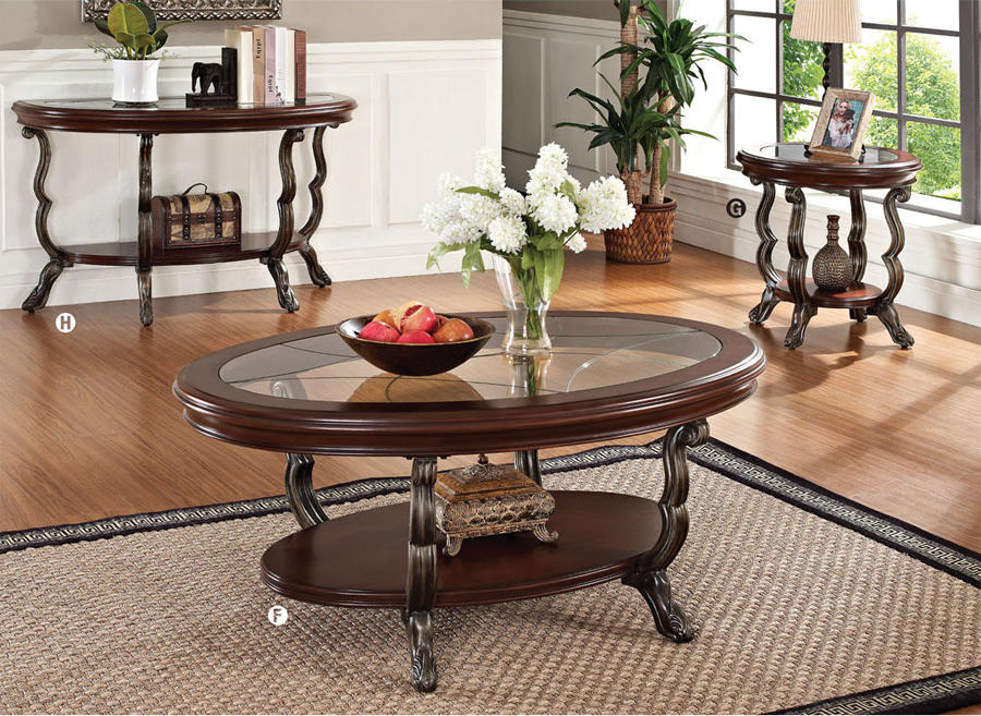 4 Pc Bavol Cherry Brown Traditional Cocktail Coffee Table Set