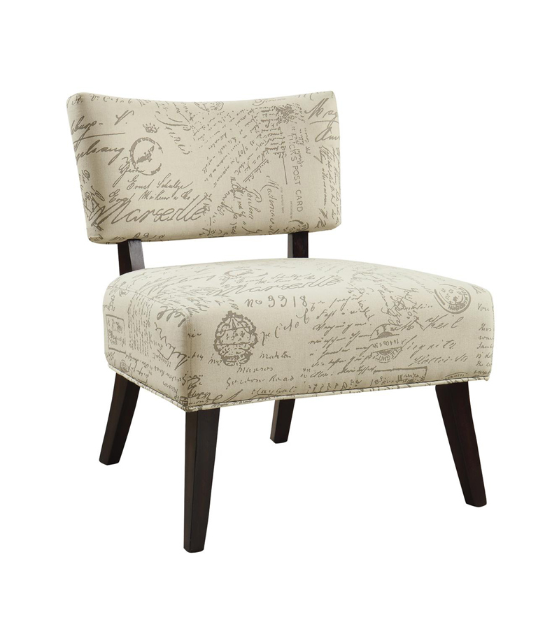 Mattress Direct New Orleans Details about Antiqued French Script Patterned Armless Accent Chair
