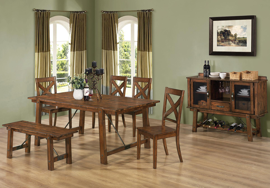 about 7 pc lawson rustic brown oak transitional dining room set