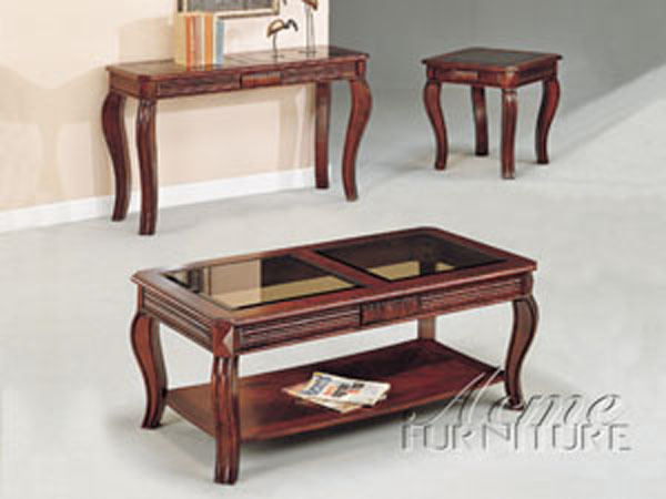 Acme Furniture Dark Cherry Glass Paned 3 Pc Coffee Table