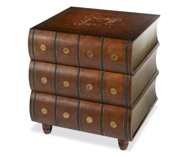 Distressed Brown Cherry Faux Book Stack Side Table Ebay