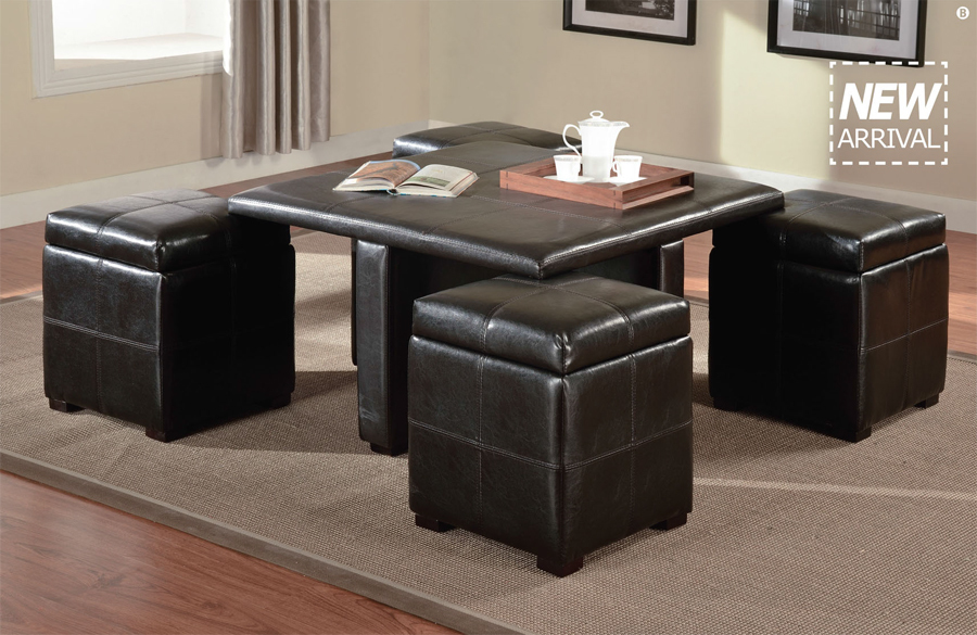 5 Pc Elva Dark Brown Faux Leather Ottomans Coffee Table Set