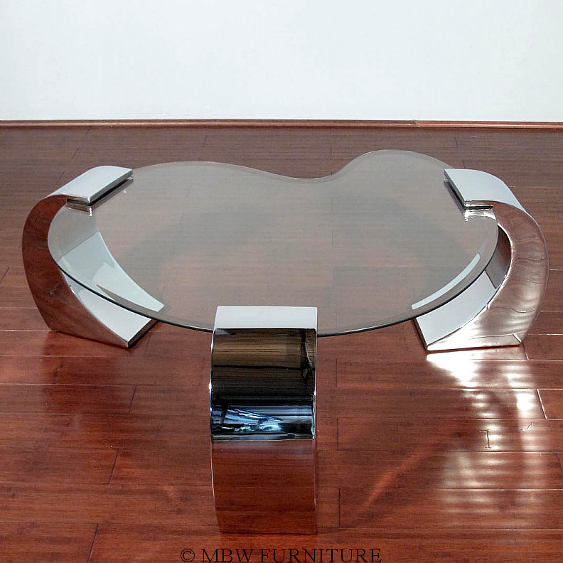 Modern Contemporary Chrome Glass Kidney Shape Coffee Table Ebay