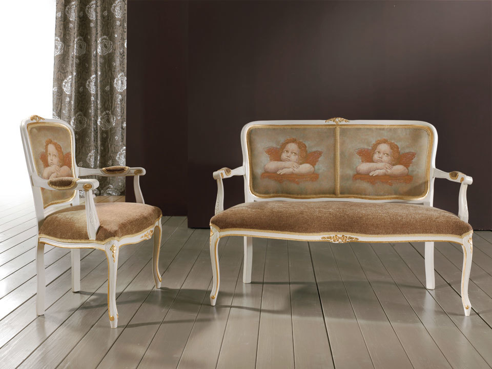 Details about 2 pc italian made whitegold living room seating set