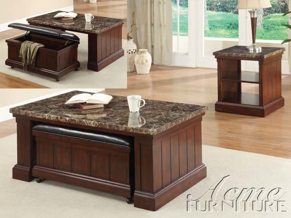 Dark Brown Cherry Faux Marble 3 Pc Coffee Table Set Ebay