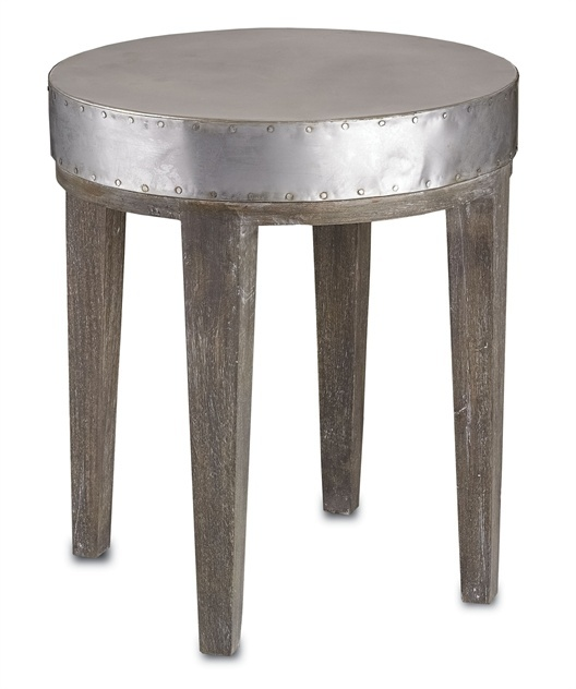 Distressed Graphite Silver Metal Small Round Side End Table EBay