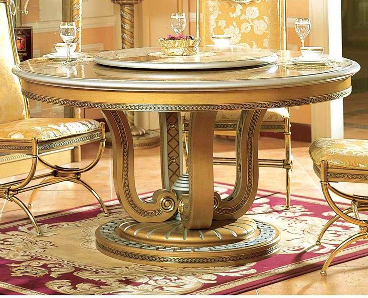 Gold Silver 59in Round Dining Table Ifi E16 Round Dining Table