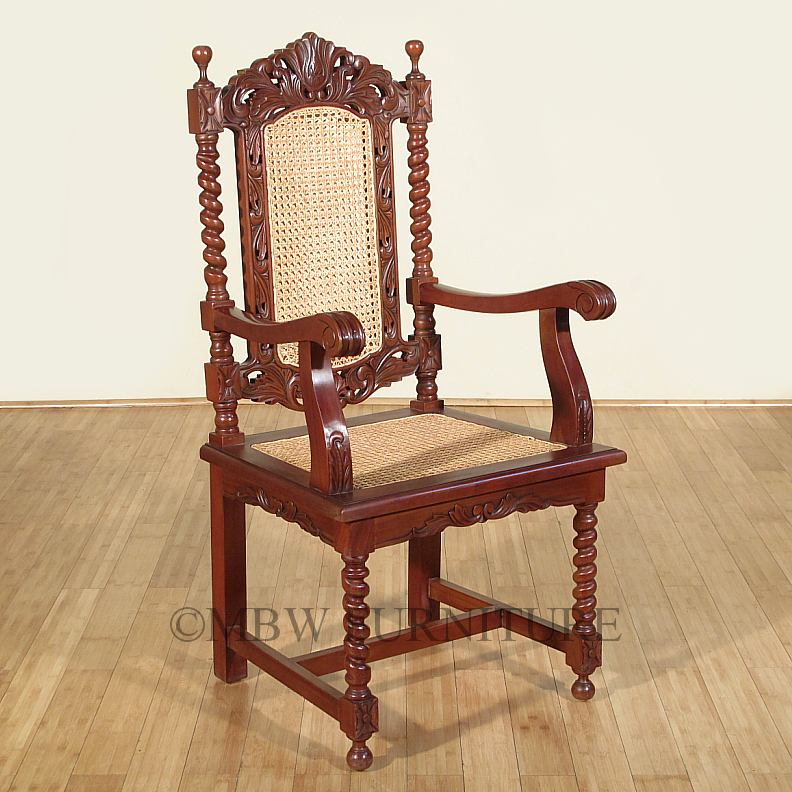 Outdoor plastic chair - About Solid Mahogany Barley Twist Rattan Occasional Accent Arm Chair