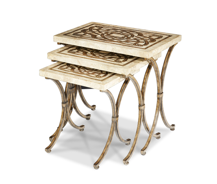 Set Of 3 Discoveries White Marble Antiqued Gold Nesting Tables Ebay
