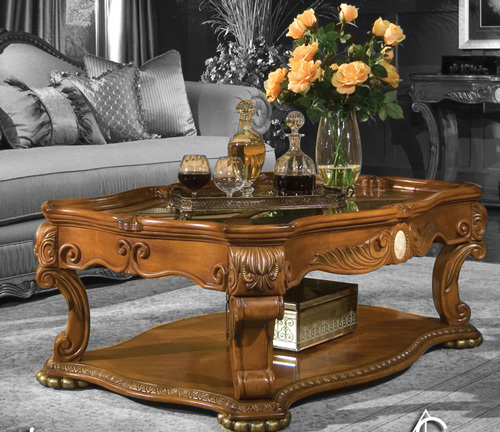 Honey Walnut Baroque Coffee Table Ebay