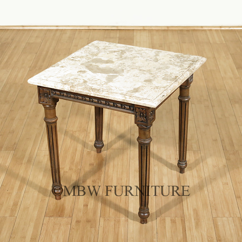 Wood Vs Marble Coffee Table Set: Solid Wood Mahogany Marble Top Occasional Coffee Table