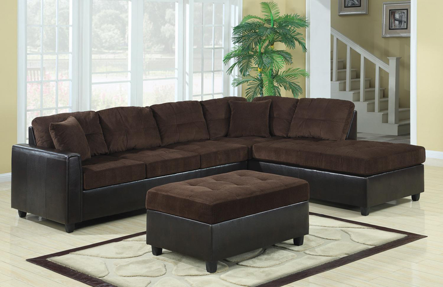Chocolate corduroy dark brown vinyl sectional sofa with for Brown corduroy couch
