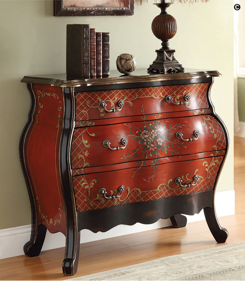 Iden Cherry Red Floral 3 Drawer Traditional Bombay Accent