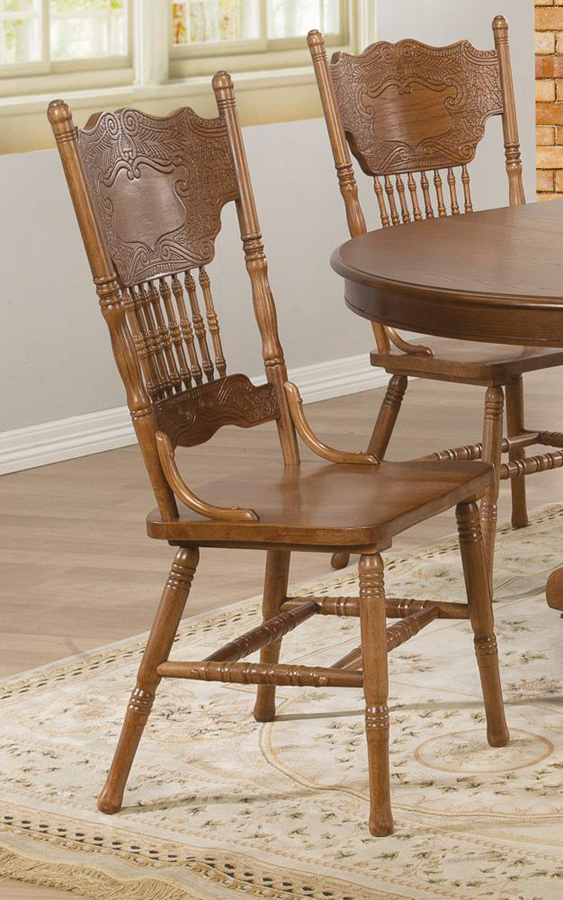 Pair of brooks country oak traditional press back dining