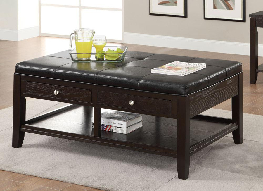 Cappuccino Black Vinyl Contemporary 2 Drawer Cocktail Coffee Table