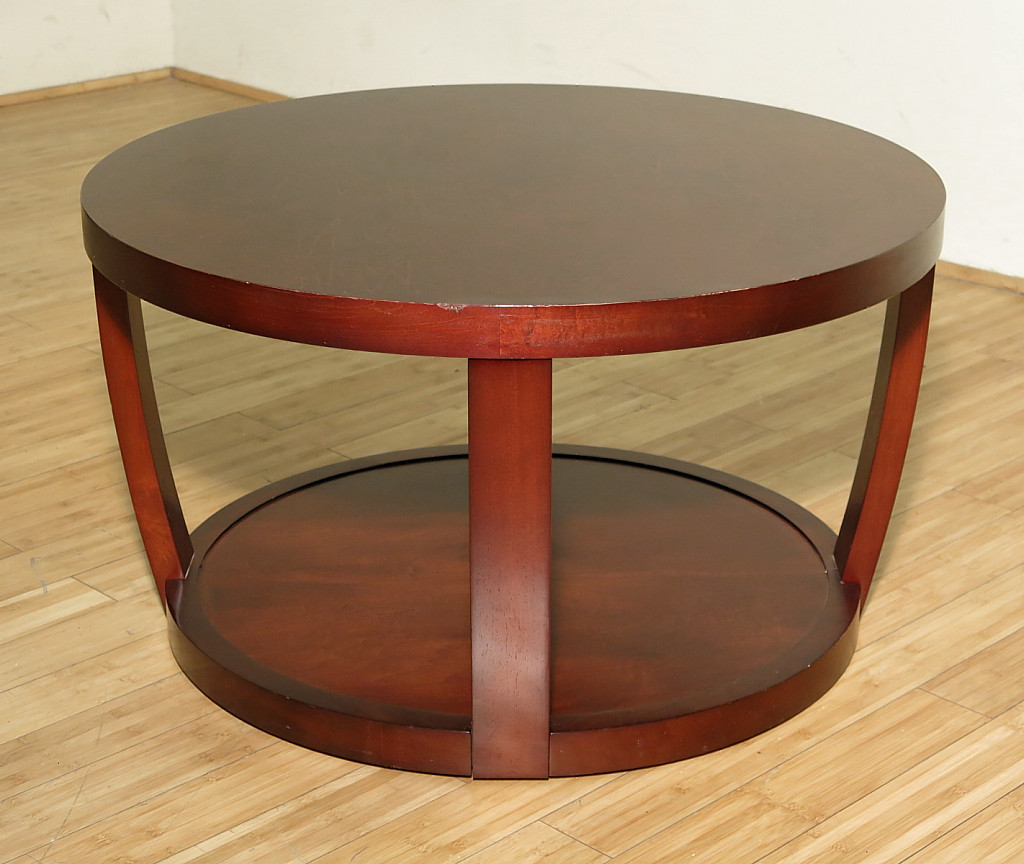 Vintage Round Dark Cherry Contemporary Occasional Coffee Table W Shelf Ebay