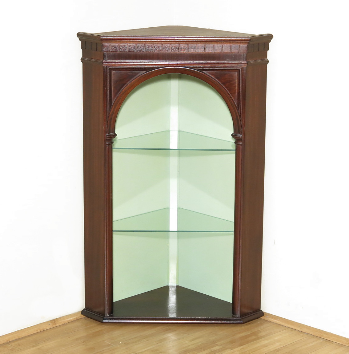 Vintage Mahogany Corner Wall Hanging Open Shelf Cabinet