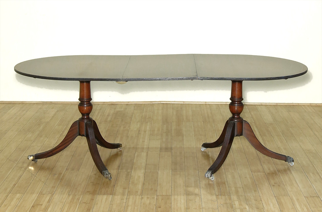 about 7ft vintage mahogany double pedestal oval dining table w leaf