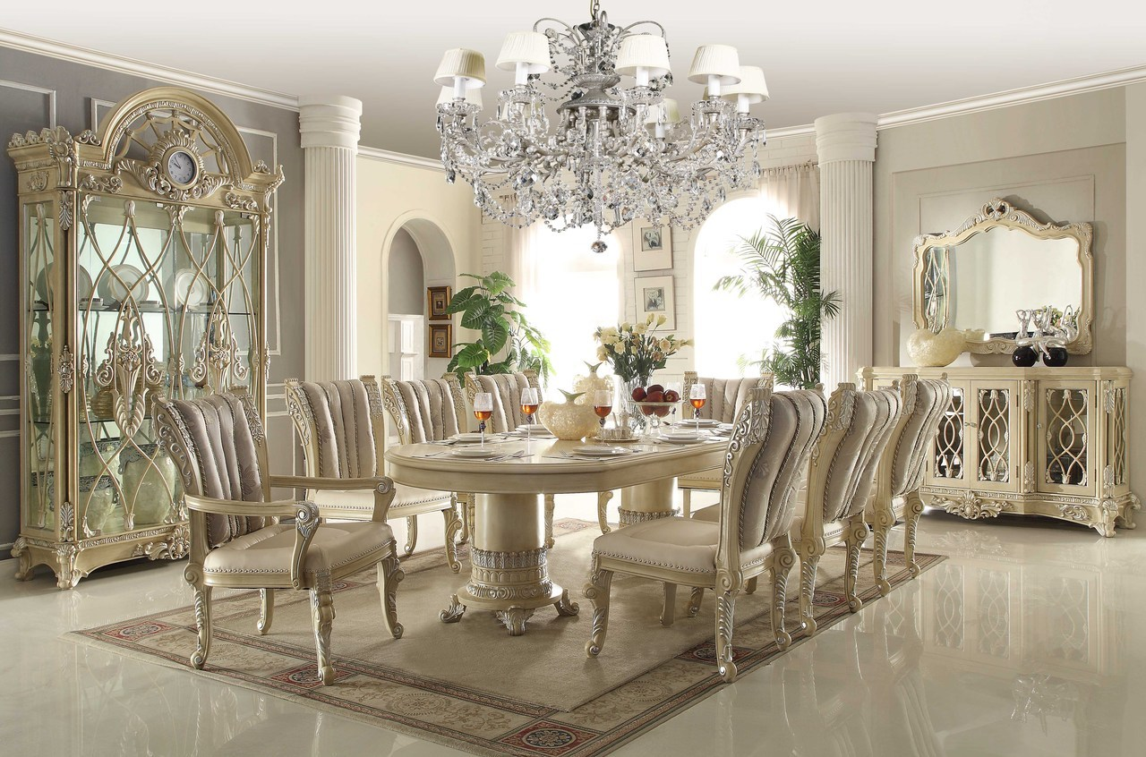 Homey design off white 12 pc traditional dining room set for Dining furniture design