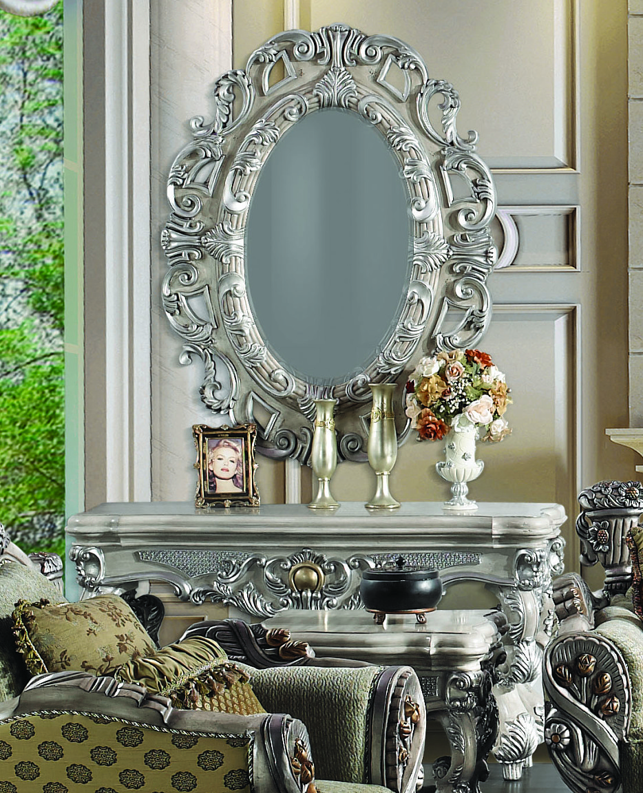2 pc silver ornate wall console table w oval wall hanging mirror image is loading 2 pc silver ornate wall console table w amipublicfo Choice Image