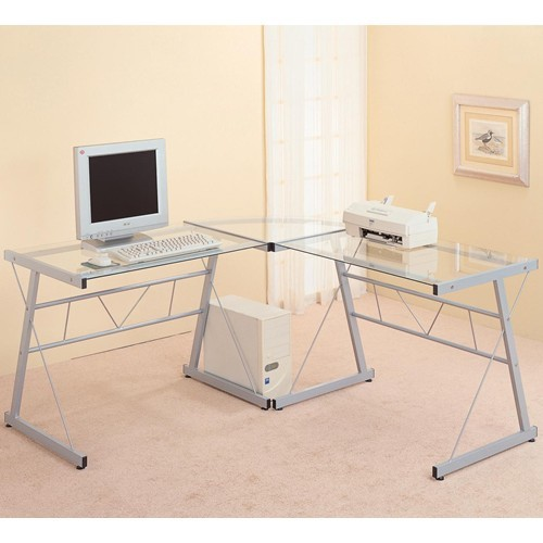 Executive Office Table With Glass Top : Contemporary Metal