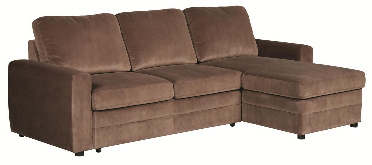 Gus brown microfiber pull out sleeper sectional sofa ebay for Gus sectional sleeper sofa