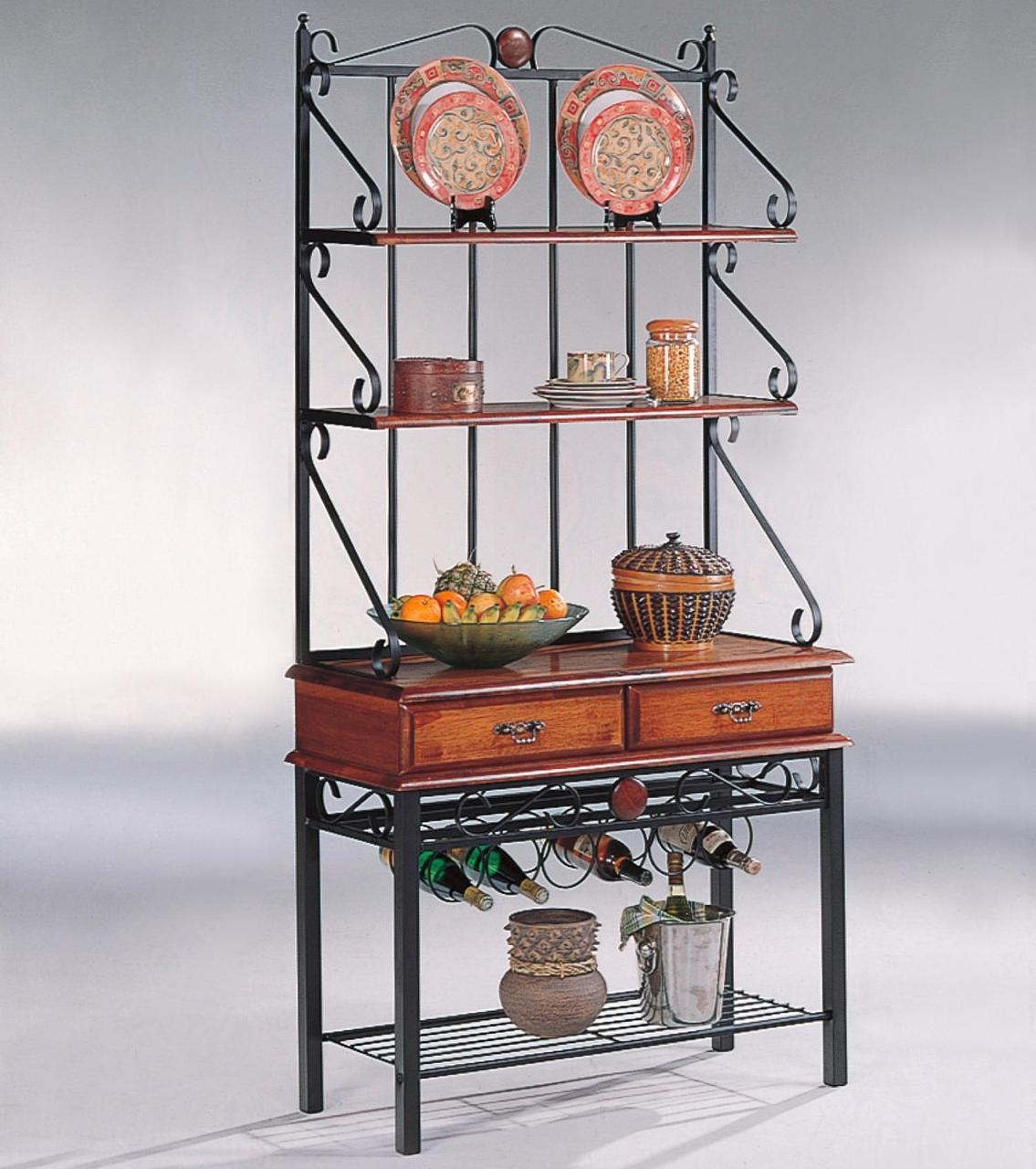 Tobacco Brown/Metal 3 Shelf Kitchen Cabinet With Wine Rack